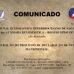 Confira o comunicado do Tribunal Eclesiástico Interdiocesano de São Paulo